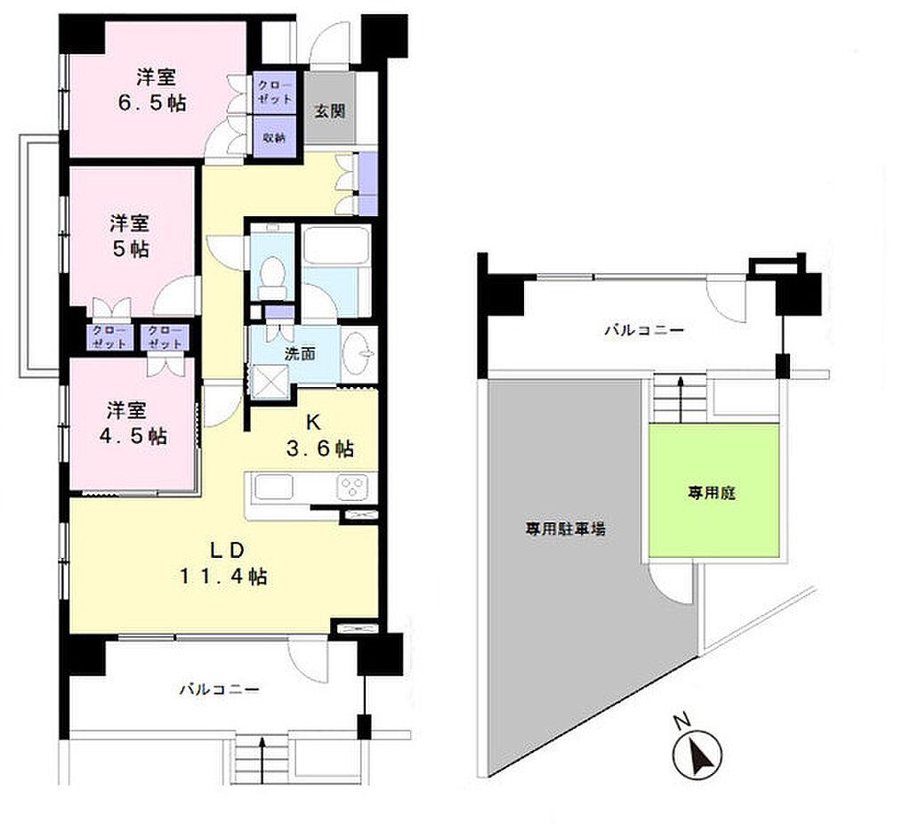 間取り(専用庭スペース、駐車スペース付)