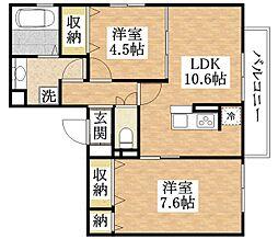 ソレアード加美東 3階2LDKの間取り