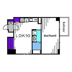 南海高野線 堺東駅 徒歩10分の賃貸マンション 10階1LDKの間取り