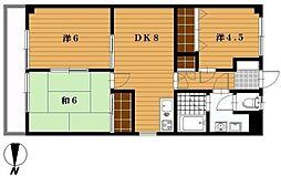 千葉県船橋市二和東6丁目の賃貸マンションの間取り