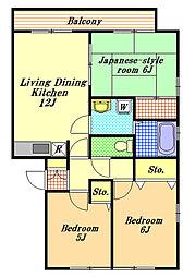 千葉県市川市妙典4丁目の賃貸アパートの間取り