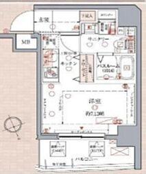 東急目黒線 武蔵小山駅 徒歩12分の賃貸マンション 7階ワンルームの間取り