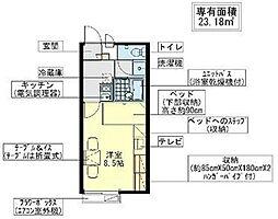 JR常磐線 天王台駅 バス6分 岡都坂上下車 徒歩4分の賃貸アパート 2階1Kの間取り