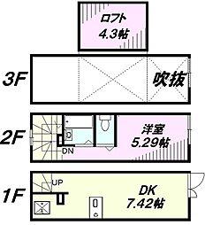 [タウンハウス] 東京都八王子市山田町 の賃貸【東京都 / 八王子市】の間取り