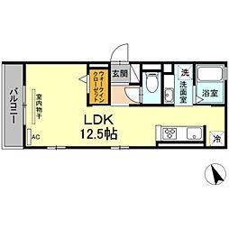 名鉄名古屋本線 東岡崎駅 徒歩5分の賃貸アパート 3階ワンルームの間取り