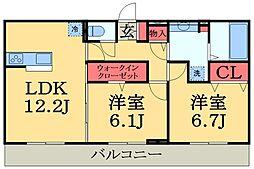 京成千原線 ちはら台駅 徒歩35分の賃貸アパート 1階2LDKの間取り