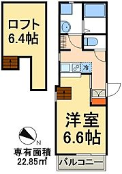 JR武蔵野線 三郷駅 徒歩3分の賃貸アパート 3階1Kの間取り