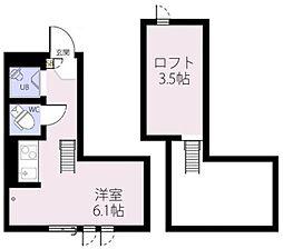 RIZEST 初台 2階ワンルームの間取り