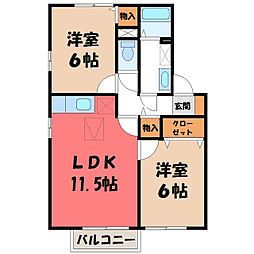 茨城県古河市南町の賃貸アパートの間取り