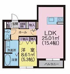メゾンマスト名須川A棟 3階1LDKの間取り