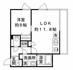 (仮称)南雪谷の集合住宅 2階1LDKの間取り