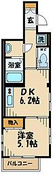 JR武蔵野線 府中本町駅 徒歩12分の賃貸マンション 1階1DKの間取り