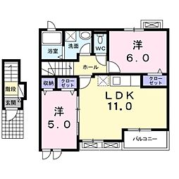 愛知県豊橋市向草間町字日雇取の賃貸アパートの間取り