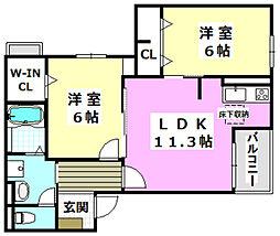 大阪モノレール 南摂津駅 徒歩7分の賃貸アパート 1階2LDKの間取り