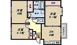 大阪府堺市中区小阪西町の賃貸マンションの間取り