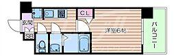 阪急千里線 豊津駅 徒歩12分の賃貸マンション 9階1Kの間取り