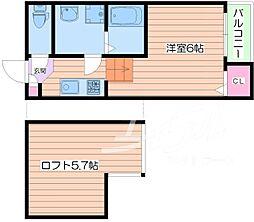 Osaka Metro谷町線 関目高殿駅 徒歩3分の賃貸アパート 2階1Kの間取り