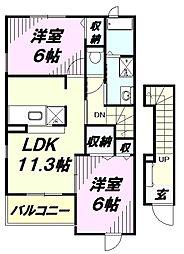 埼玉県狭山市笹井3丁目の賃貸アパートの間取り