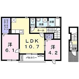辻野タウンハイツ 2階2LDKの間取り
