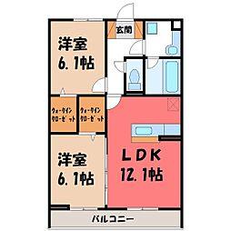 JR東北本線 石橋駅 徒歩27分の賃貸アパート 2階2LDKの間取り