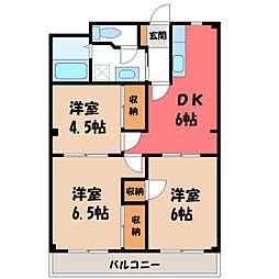 栃木県宇都宮市中今泉3丁目の賃貸マンションの間取り