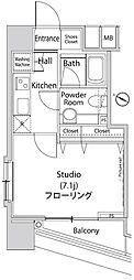 ファーストリアルタワー新宿 4階1Kの間取り