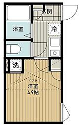(仮称)西東京市富士町5丁目新築アパート 1階1Kの間取り