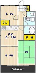 JR京浜東北・根岸線 西川口駅 徒歩15分の賃貸マンション 2階3DKの間取り