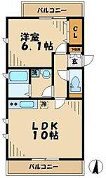 小田急多摩線 唐木田駅 徒歩3分の賃貸マンション 2階1LDKの間取り