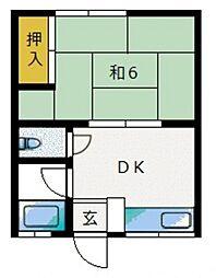 若草荘[203号室]の間取り