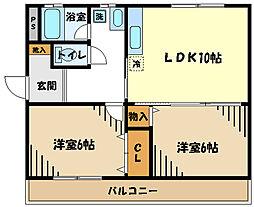 JR五日市線 武蔵五日市駅 徒歩11分の賃貸マンション 2階2LDKの間取り