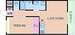 Osaka Metro御堂筋線 長居駅 徒歩4分の賃貸マンション 1階1LDKの間取り