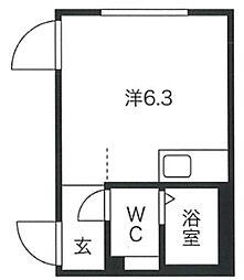プロト渋谷神泉I 1階ワンルームの間取り