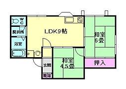 大阪府豊中市長興寺南2丁目の賃貸アパートの間取り