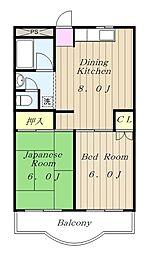 神奈川県大和市中央林間西1丁目の賃貸マンションの間取り