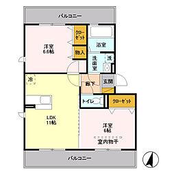 埼玉県八潮市大字浮塚の賃貸アパートの間取り
