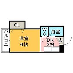 レピュート赤坂[203号室]の間取り