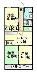 静岡県富士市神谷の賃貸マンションの間取り