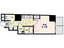 阪堺電気軌道上町線 松虫駅 徒歩3分の賃貸マンション 4階1Kの間取り