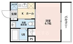 JR川越線 日進駅 徒歩15分の賃貸アパート 3階1Kの間取り