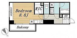 オーク高輪II 7階ワンルームの間取り