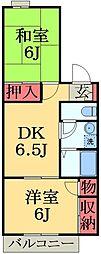千葉県市原市東国分寺台5丁目の賃貸アパートの間取り