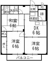 長野県松本市大字笹賀の賃貸アパートの間取り