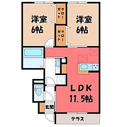 JR水戸線 川島駅 徒歩12分の賃貸アパート 1階2LDKの間取り