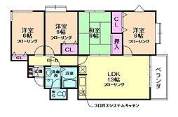 大阪府箕面市桜2丁目の賃貸マンションの間取り