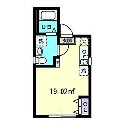 グランメゾン上野広小路 4階ワンルームの間取り