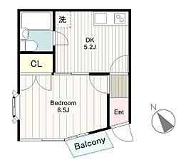 東京都日野市三沢2の賃貸アパートの間取り