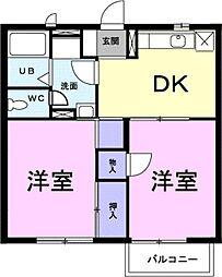 愛知県豊川市伊奈町大門の賃貸アパートの間取り