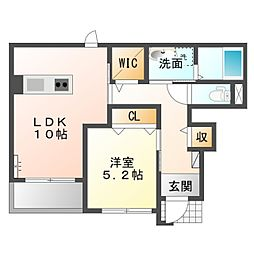仮)白雲町新築アパート[1階]の間取り