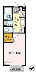 マーサ・クレストIII 2階1Kの間取り